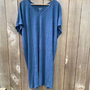 Eileen Fisher organic linen blue dress, M